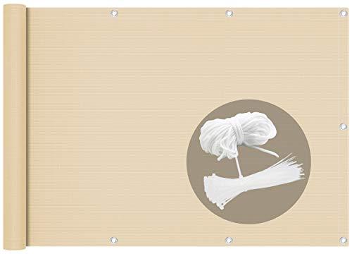 vounot Brise Vue pour Balcon 100% HDPE 230g/m2 Protection UV Résistant aux Déchirures et au Vent Protection Contre Les Regards avec Attaches de Câble et Cordons 500x90cm Beige