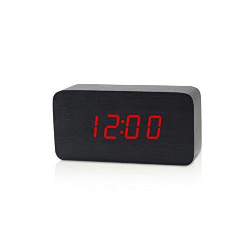 YONGJUN wekker, houten wekker spraakbesturing, elektrisch intelligent led-alarm, niveau 3 helderheid en 3 alarminstellingen, digitale alarmweergave, datum en tijd slaapkamer temperatuur