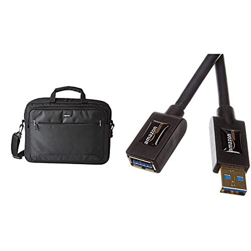Amazon Basics- kompakte Laptoptasche, Umhängetasche/Tragetasche mit Taschen, für Laptops bis zu 15,6 Zoll (40 cm), Schwarz, 1 Stück & USB 3.0-Verlängerungskabel (A-Stecker auf A-Buchse) 3 m
