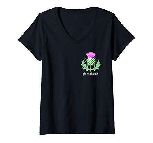 Womens Scottish Thistle Flower Celtic Symbol Scotland Gifts V-Neck T-Shirt