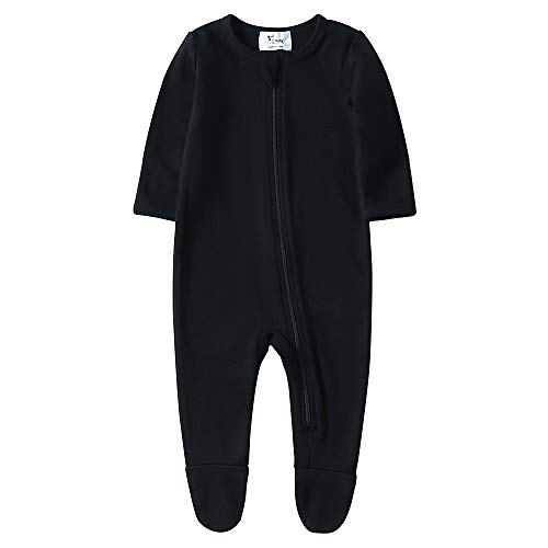 O2Baby Baby Boys Girls Organic Cotton Zip Front Sleeper Pajamas, Footed Sleep 'n Play(6-12Months,Black)