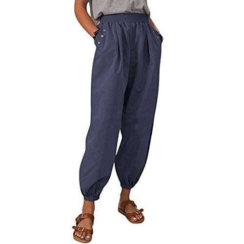 Dihope - Pantalones de deporte para mujer con bolsillo elástico y transpirables, talla grande, para correr, fitness, otoño, azul, XXL