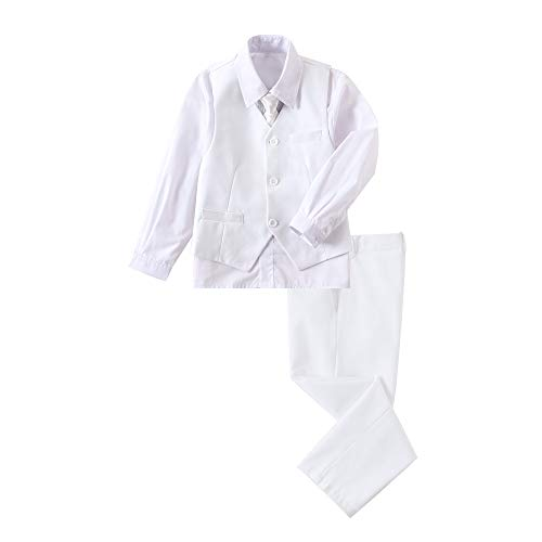 YuanLu Boys' First Communion Suits Vest and Pants Set with Dress Shirt and Tie White Size 7