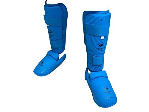 Tokaido Schienbein-Spannschutz WKF rot blau Karate Schienbeinschützer Fußschützer für Wettkampf & Training (blau, XL)