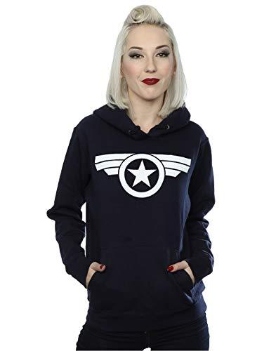 Marvel Damen Captain America Super Soldier Kapuzenpullover Navy Blau Medium