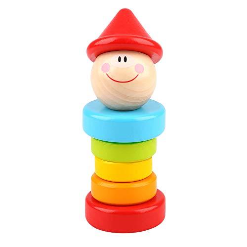 Tooky Toy Clown en bois - Formes à empiler - Figurine en bois - Jouet bébé - Jeu d'éveil - environ 5 x 13 cm