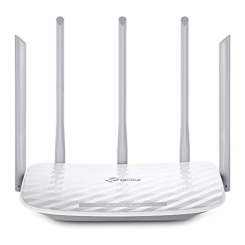 TP-Link Archer C60 Dualband WLAN Router (867Mbit/s (5GHz) + 450Mbit/s (2,4GHz)), 4 10/100Mbps LAN Port + 1 10/100 WAN Port, Print/Media/FTP Server, APP Steuerung, Gast-Netzwerk) weiß