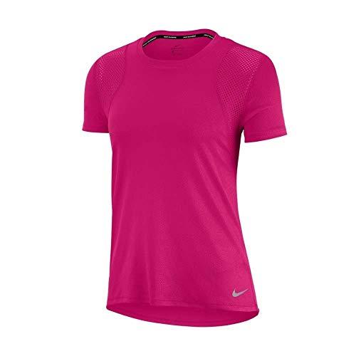 NIKE W NK Run Top SS T-Shirt, Fireberry/Fireberry/(Reflective silv), XL Womens