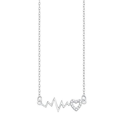 s.Oliver Kinder-Kette mit Anhänger Teenager Girls Herz 925 Silber rhodiniert Zirkonia weiß 40 cm - 565523