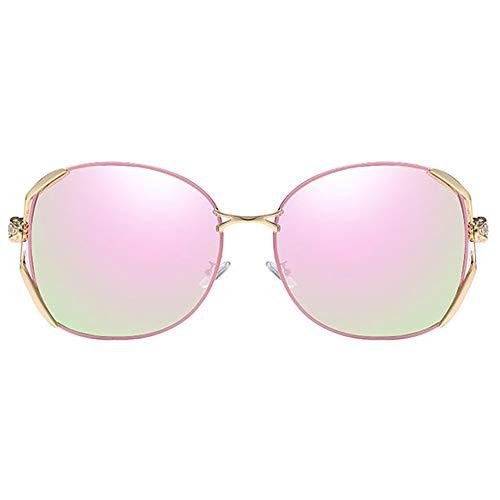 WHSS Gafas de sol de metal Material Anti-UV Anti-reflejo Polarizado Casual Moda UV400 Gafas de sol de moda Rosa Trend Modelos Femeninos Gafas de sol de conducción (Color: Rosa)