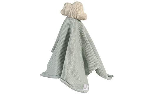 Kindsgut Schmusetuch mit Rassel aus 100% Baumwolle, dezente Farben und Schlichtes Design, ideal für unterwegs oder zum kuscheln zu Hause, schönes Geschenk zur Geburt, Wolke