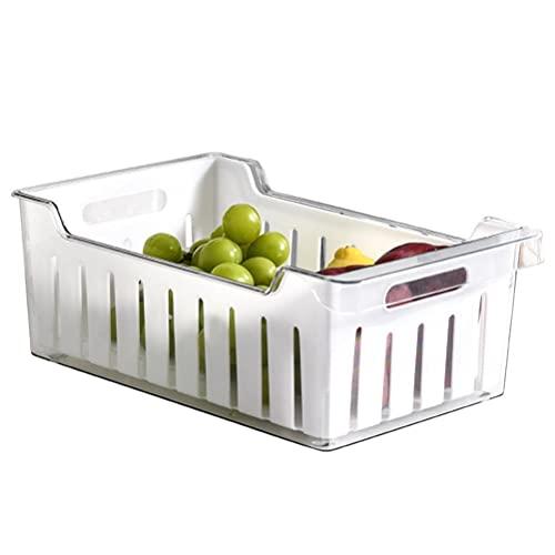 Auplew Caja de almacenamiento grande para frigorífico, drenaje de verduras, cesta de almacenamiento, caja de almacenamiento, sistema de organización, transparente para baño, despensa, cajón