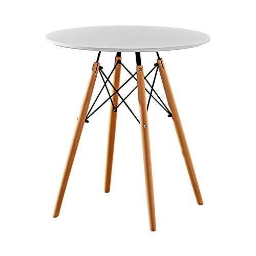 Mesa de comedor redonda mesa centro oficina cocina informal estilo moderno taberna blanca pequeña plegable (blanco, 75x60)