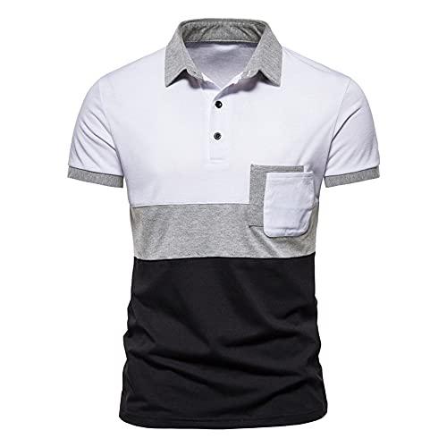 Manga Corta Hombre Botón Placket Rayas Hombre Casuales Camisa Tendencia T-Shirt Verano Ajuste Regular Negocios Casual Cómodo Wicking Polo Shirt F-F06 XL