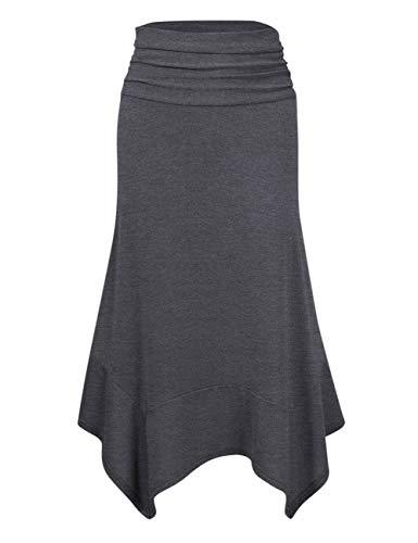 KOJOOIN dames rok Elegant Midi Rock A-lijn plooirok elastische taille rok