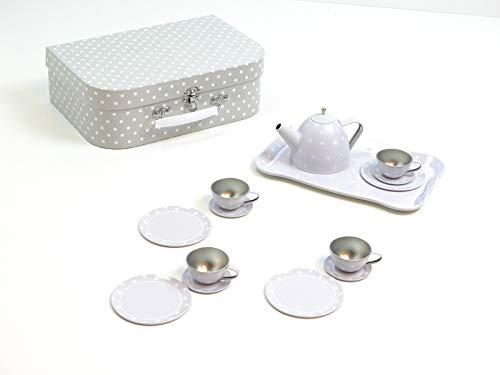 JaBaDaBaDo Tee-Set aus Metall im praktischen Koffer / grau mit weißen Punkten / Koffer mit Griff + Metallverschluß / Maße des Koffers: 29x20x9,5 cm