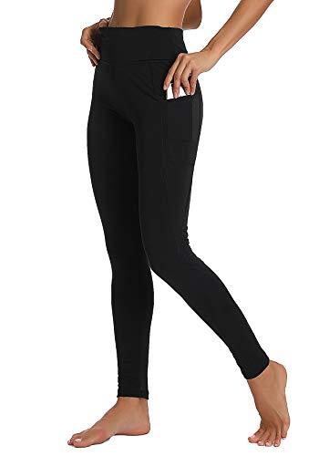 INSTINNCT Damen Sport Hohe Taille Leggings mit Taschen Yogahose Sporthose Laufhose Training Tights Schwarz XL