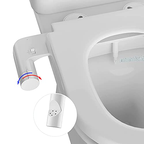 AMAZING FORCE Hot and Cold Bidet Toilet Attachment, Non-Electric Bidet Attachment with Angle Adjustable Nozzle, Fresh Water Sprayer Mechanical Bidet with Brass Components, Easy to Install, White