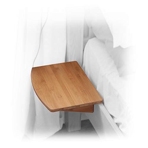 Nachttisch Nachtschrank, Nachtkonsole Regal aus Bambus (Natural, Clips 26mm)