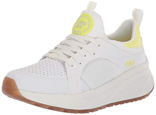 Skechers Bobs Sparrow 2.0-Metro Daisy, Zapatillas Mujer, Blanco (White Engineered Knit/Gore/Yellow Trim Wyl), 38 EU