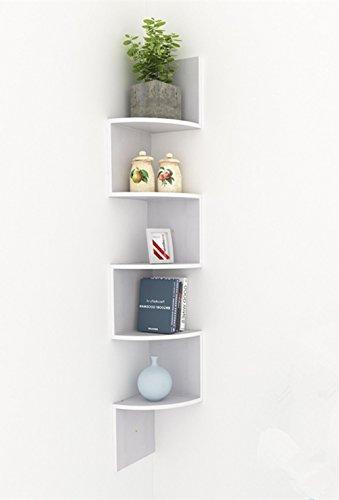 BUSYALL Scaffali Angolari a Parete 5 Ripiani Mensola in MDF Libreria Mobili Organizzatore per Libri Decorazione di Muro Stanza Cucina Camera da Letto 19,5 x 19,5 x 123,25cm (EU STOCK)