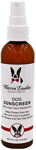 Warren London Dog Sunscreen w/Aloe Vera Moisturizer- Non Greasy UV Protection Made in USA- 4oz