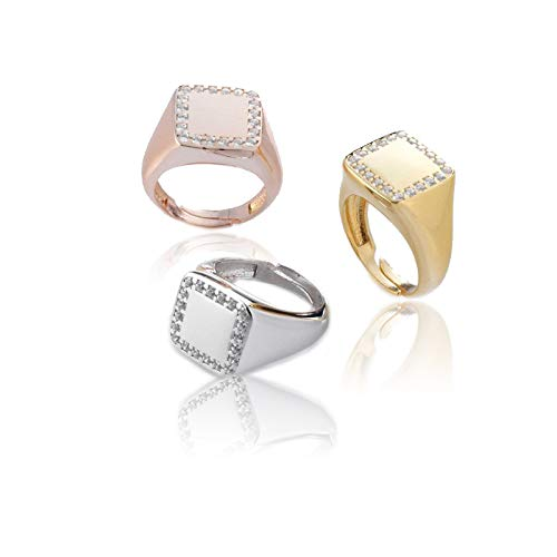 AleMi jewels Square Swarovski Chevalier Ring - Yellow Gold, 925 Silver Rings Customised