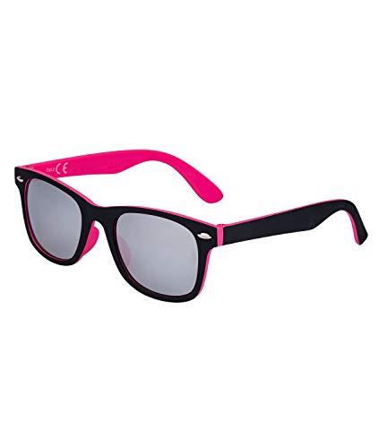 SIX Kids Sonnenbrille, Kindersonnenbrille, verspiegelt, eckig, rosa, schwarz, Silber (128-783)