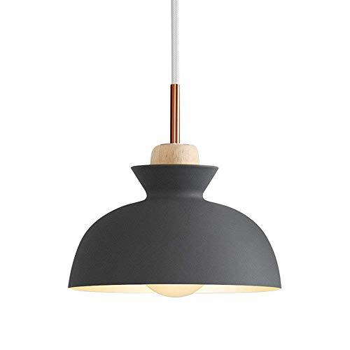 Nordic Moderno colgante de luz de techo Nordic Macaron Aluminium + Wood Chandelier Fixture Cocina Colgante Iluminación Sala de estar Iluminación XYJGWDD (Color : Gray)