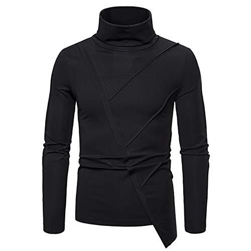 Mr.Powerlong & Miss.GO Otoño/Invierno Camiseta De Manga Larga para Hombre Suéter para Hombre Cuello Alto De Regulación Europea para Hombre Camiseta Oscura De Manga Larga para Hombre Camiseta Básica