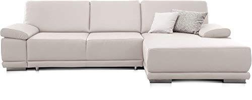CAVADORE Ecksofa Corianne in Lederoptik / Couch inkl. Armteilverstellung und Longchair in modernem Design / 282 x 80 x 162 / Kunstleder, weiß