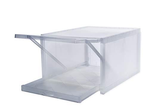 Premium Shoebox 3er Set transparente Sneakerbox stapelbar mit Türklappe und ausziehbarem Boden Schuhbox Set Schuhregal Kunststofbox Schuhorganizer einfache Montage B26cm x T34cm x H19cm mit Entlüftung