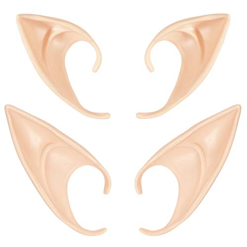 Cosplay Fairy Elf Ears Latex - Pixie Elf Ears Pointed Ear Elven Ears Dress Up Accessories for Christmas Halloween Party (Pack of 2)