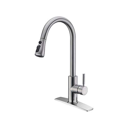 FORIOUS Kitchen Faucet with Pull Down Sprayer Brushed Nickel, High Arc...