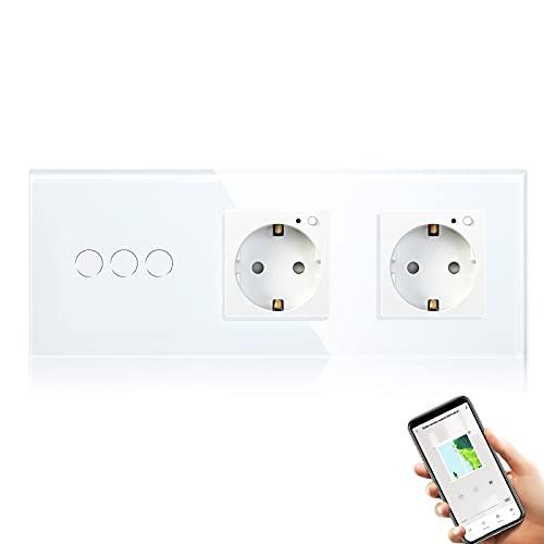 BSEED Interruptor Persiana WiFi, Alexa Interruptor con Enchufe Doble (Cortina no Compatible) 2.4 GHz Google Home/Tuya,para Motor Persiana Función Porcentaje (se requiere línea neutra) Blanco