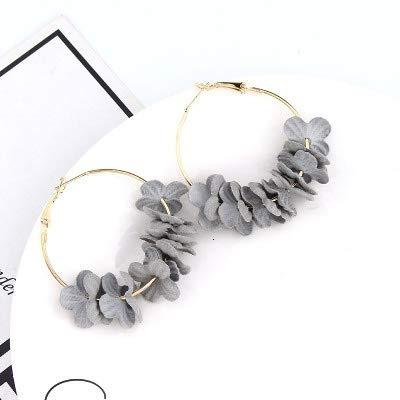 XPWOZ Vintage Trendy Cute Flower Dangle Earrings For Women Girl Jewelry Female Rhinestone Round Circle Gift Wholesale Earings Earing (Color : Gray)