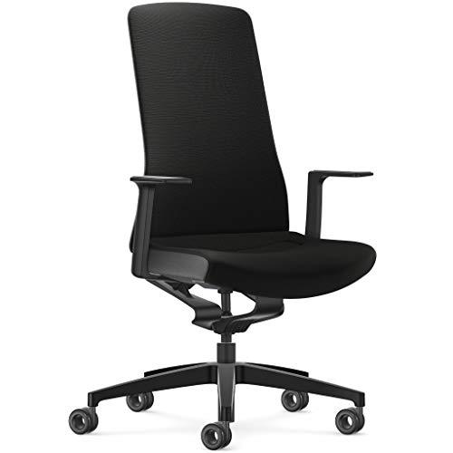 Interstuhl Pure Fashion Edition – Der Bürostuhl passt Sich an Gewicht und Bewegung des Nutzers an – ausgestattet mit der nachgewiesen ergonomischen Smart-Spring Technologie (Schwarz/Schwarz)