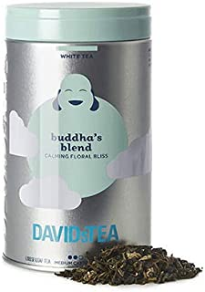 DAVIDsTEA Buddha's Blend Loose Leaf White Tea Iconic Tin, with Jasmine Pearls and Hibiscus Blossoms, 66 g / 2.3 oz