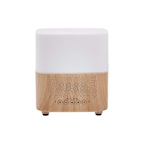 Amazon Basics Difusor de aceites esenciales ultrasónico para aromaterapia, 300ml, con altavoz Bluetooth y reloj despertador, base con acabado de madera clásica
