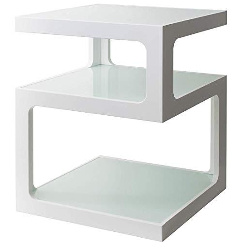 宮武製作所サイドテーブルARCA幅40×奥行き40×高さ52.5cmホワイト3段ガラス天板ST-403WH