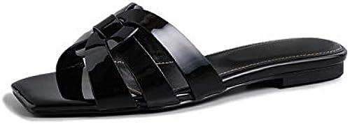 HommesGLTX Talon Aiguille Talons Hauts Sandales 2019 Nouvelles Chaussures en Cuir Verni Femme Pantoufle Couleurs Solides évider Chaussures D'été Les Les dames Plage Chaussures Plates Femme