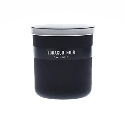 Handsome 'TOBACCO NOIR' Scented Candle in Medium Black Jar with Silver Lid, 9 oz.