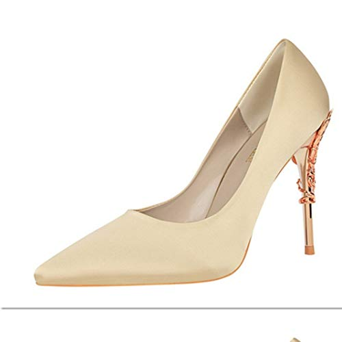 Damen Stilettos mit dünnem Absatz und Metallabsatz Hochzeit Einzelschuhe Satin Frühling Herbst Mode Pumps Slip on Pointed Toe High Heels