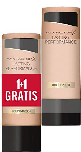 Max Factor, Coppia di Fondotinta Liquido Lasting Performance, Alta Coprenza, Finish Matte e Lunga Durata, 108 Honey Beige, 2 x 35 ml