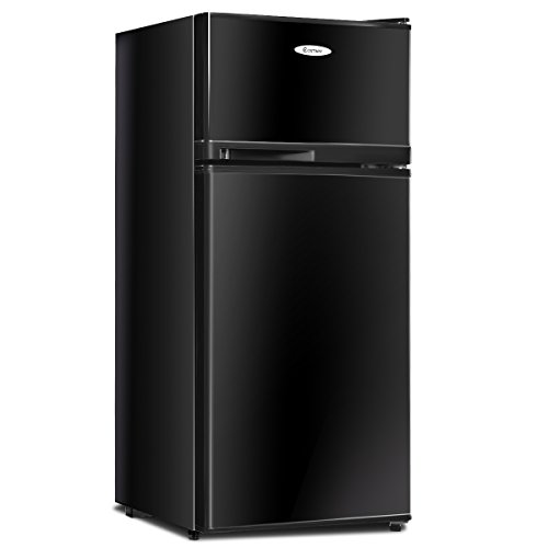 COSTWAY Compact Refrigerator, 3.4 cu. ft. Classic Fridge with Reversible Door, Adjustable Removable Glass Shelves, Mechanical Control, Recessed Handle for Dorm, Office, Apartment (Black)