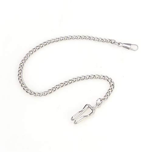 UKCOCO 3er Taschenuhrenkette klassisch versilbert Taschenkette (Silber)