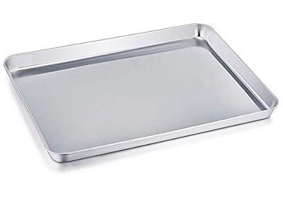 TeamFar Baking Sheets Set of 3, Stainless Steel Cookie Sheet Baking Tray Pan, 16x12x1 inch, Non Toxic & Rust Free, Easy Clean & Dishwasher Safe