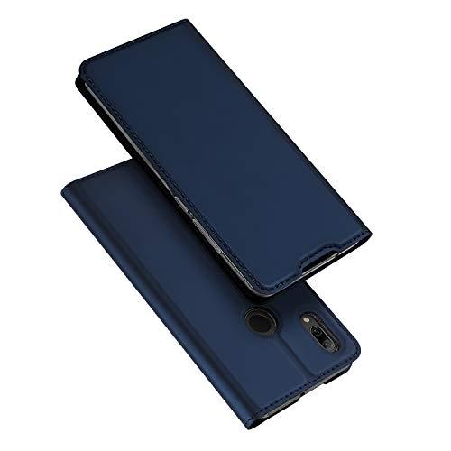 DUX DUCIS Hülle für Huawei P Smart 2019, Leder Flip Handyhülle Schutzhülle Tasche Hülle mit [Kartenfach] [Standfunktion] [Magnetverschluss] für Huawei P Smart 2019 (Blau)