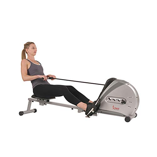 Sunny Health & Fitness Rowing Machine Rower Ergometer with Digital Monitor, Inclined Slide Rail, 220 LB Max Weight and Foldable - SF-RW5606