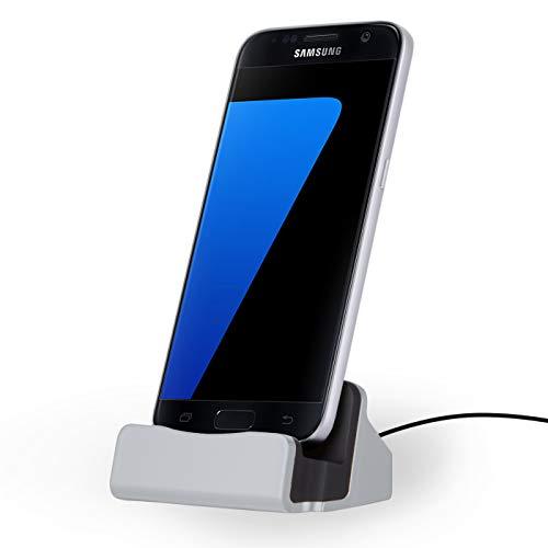 NessKa - Docking station [cavo da 2 metri] da tavolo con caricatore docking station per smartphone con [micro USB] Connettore Samsung Galaxy/Sony Xperia/Huawei/HTC/LG/Nokia | Argento
